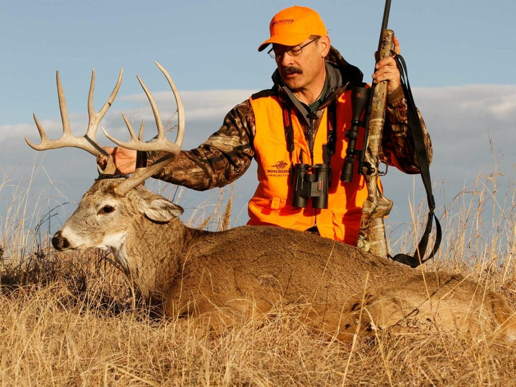 A hunter in camo and orange kneels behind a whitetail buck and holds its antlers.