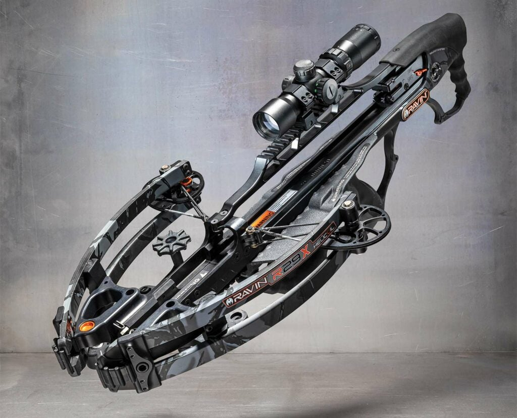 The Ravin R29X crossbow on a grey background.