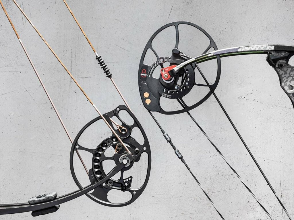 Two cams on a compound bow.