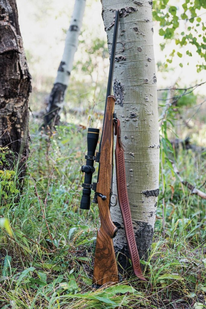 A hunting rifle stands against a tall tree.