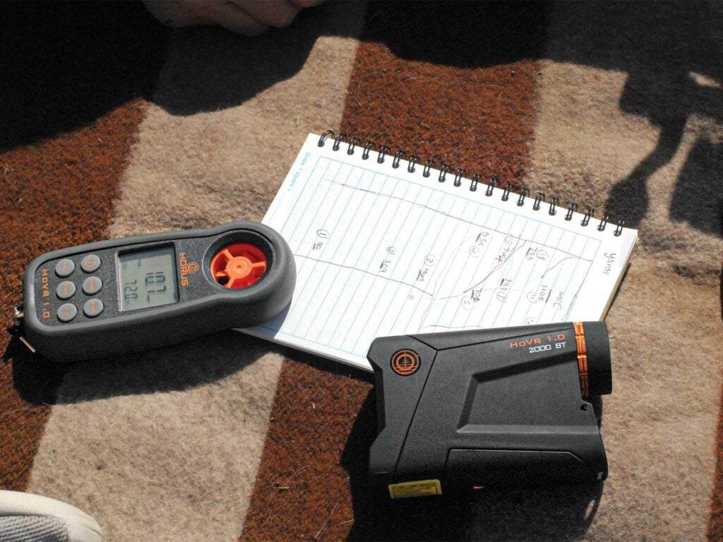 A Horus new HoVR weather station and shooting gear on a table.