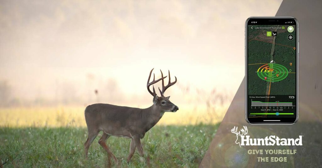An image of a whitetail buck walking in a field, overlayed with a branding lockup showing the HuntStand app, logo, and tagline: