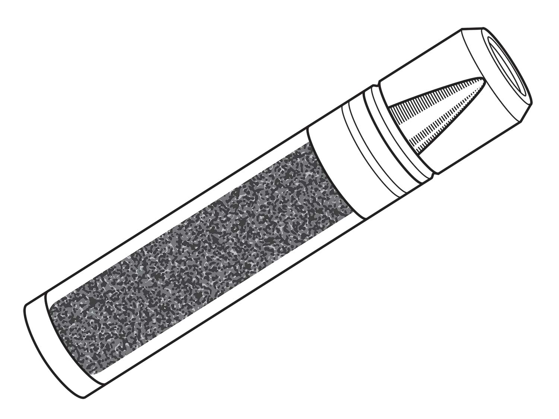 A sketch of the case-telescoped cartridge.