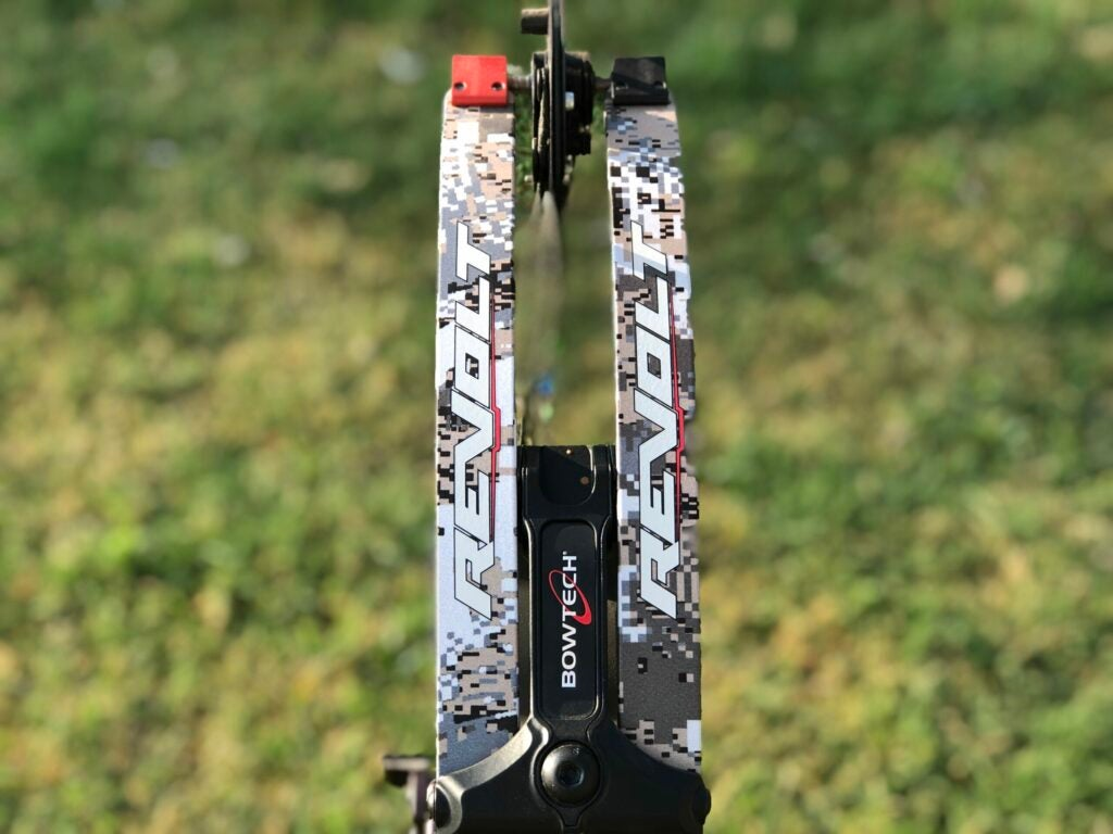 The limbs covered in digital camo on Bowtech's Revolt compound bow.