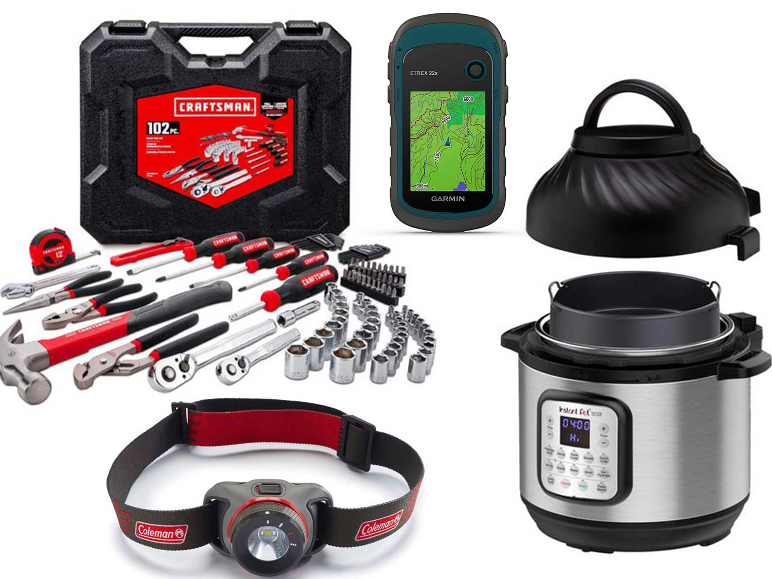 A collage of outdoor gear: Garmin wayfinder, headlamp, pressure cooker, and craftsman toolset on a white background.