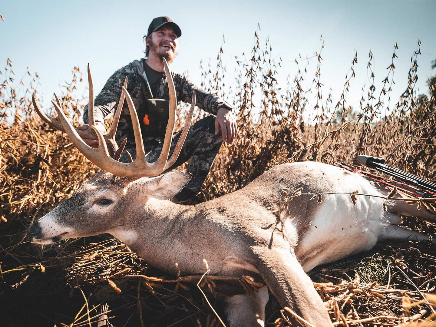 A hunter kneels behind a dropped whitetail buck in a large field.