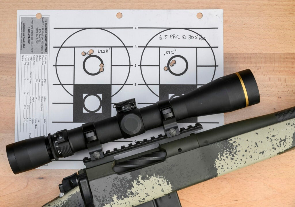 A camo-stocked, scope-topped camo rifle lying on a shot paper target on a wooden table.
