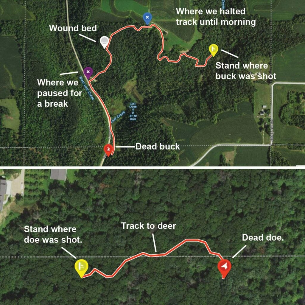 A detailed map of topography and tracking routes to locate a downed deer.