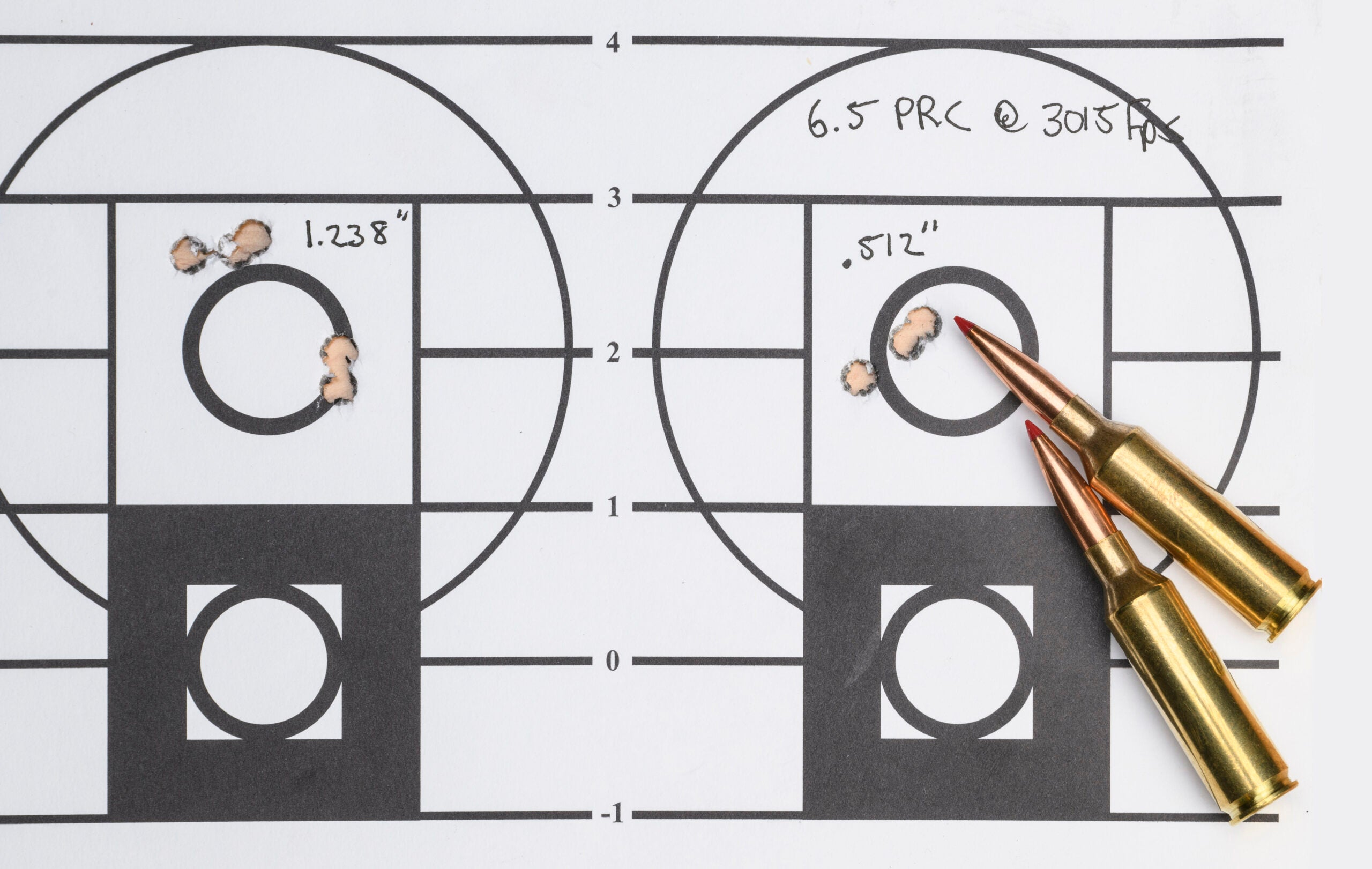 A side-by-side comparison on a paper rifle target of a group of five bullet holes, slightly larger than the tighter group of three bullet holes.