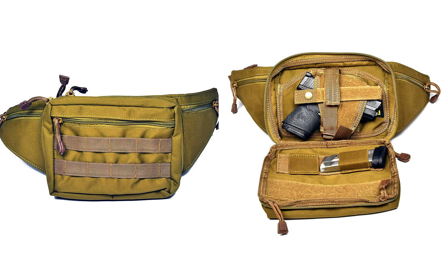 A tan waist pack on a white background.