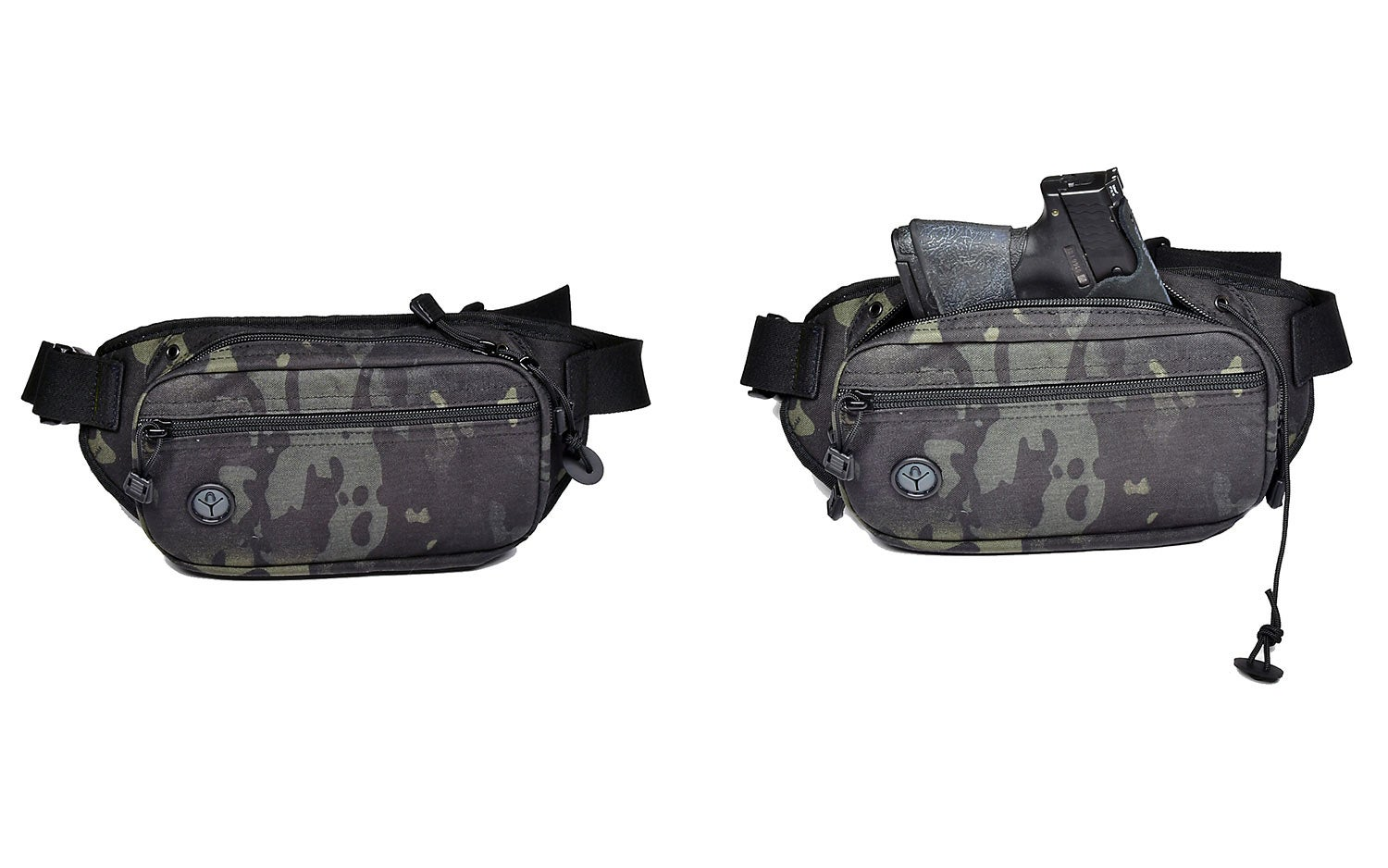 A camoflauge waist pack on a white background.