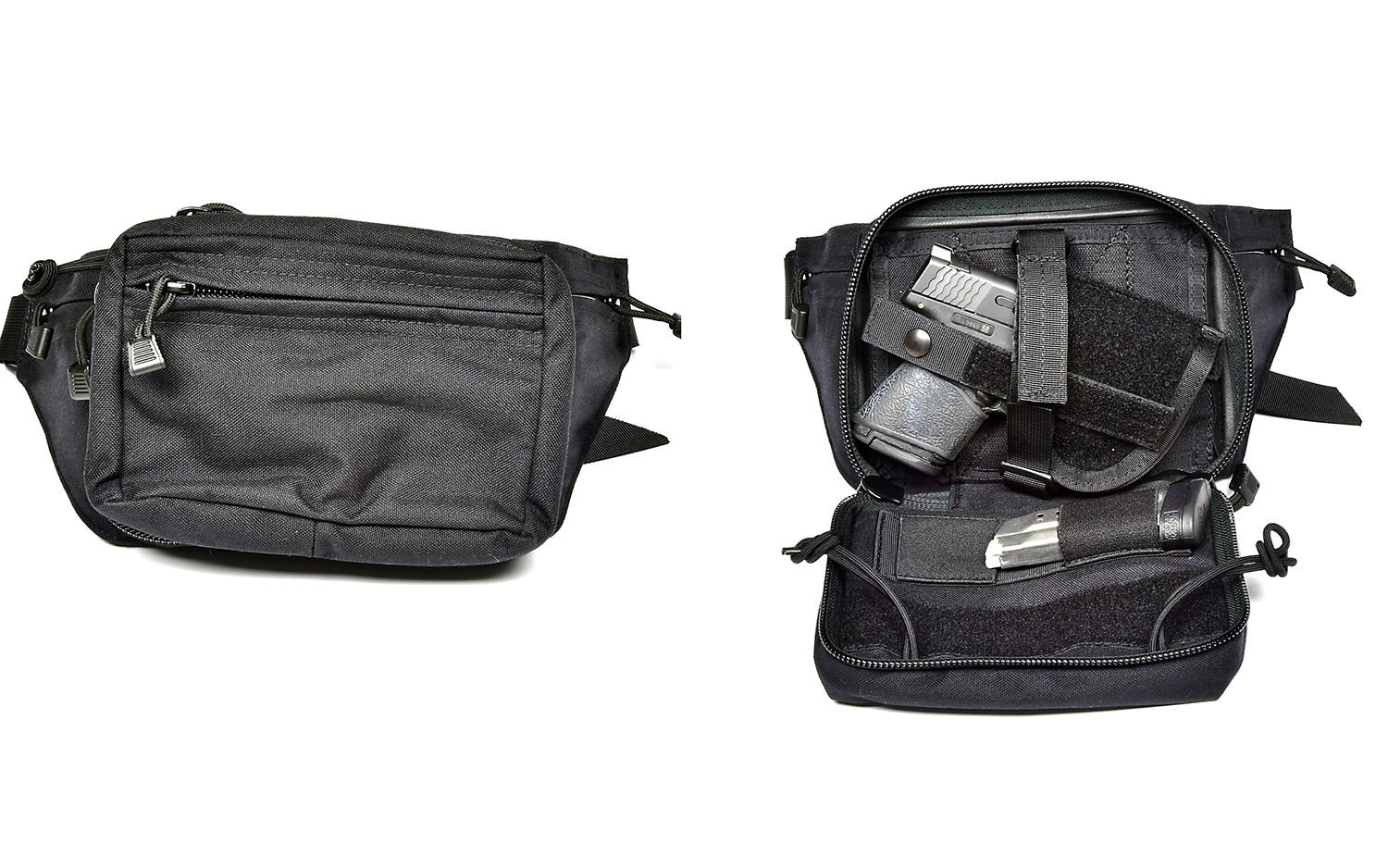 A black waist pack on a white background.