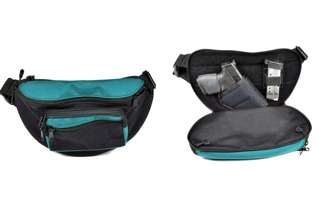 A blue and black waist pack on a white background.