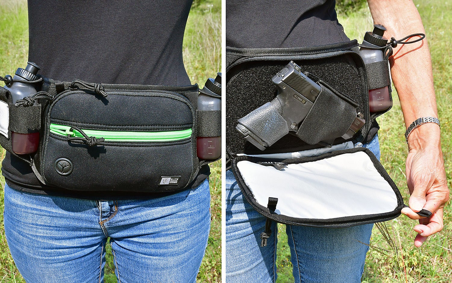 A black and green waist pack worn by a man, showing it open and closed.