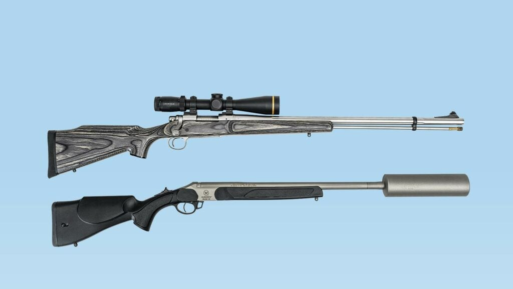 Two muzzleloader rifles on a blue background.