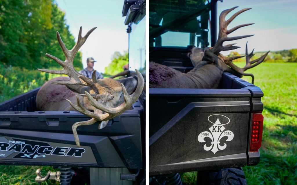 Side-by-side pictures of a big whitetail buck in a Polaris Ranger XP.