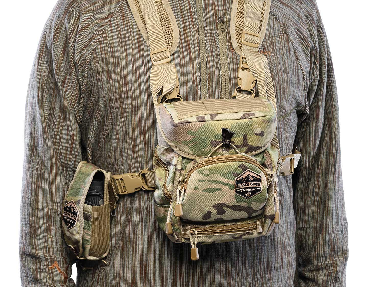 Alaska Guide Creations Alaska Classic HBS with M.A.X. Pocket on a hunting shirt model.