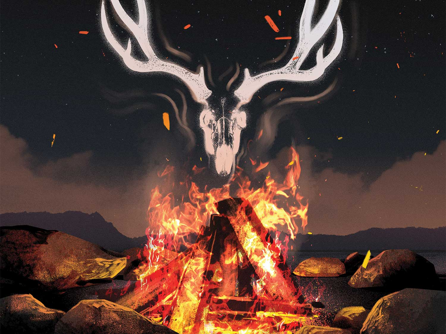 Illustration of a campfire smoke creating a smoke signal of a deer skull and antlers.