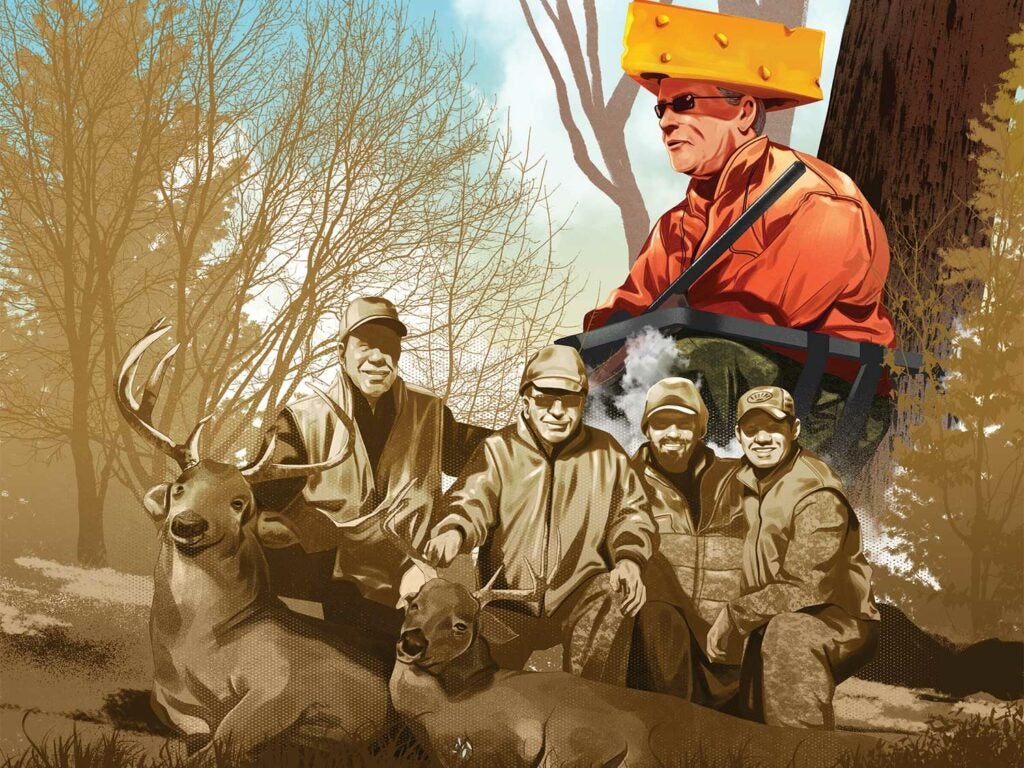 Illustration of hunters kneeling behind deer while one wears a cheese wedge shaped hat.