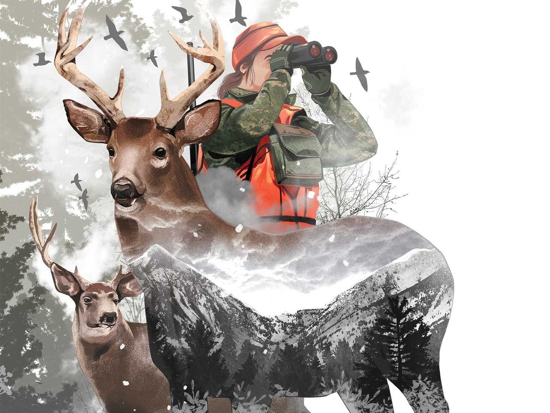 Illustration of a hunter using binoculars next to bucks, deer, and mountains.