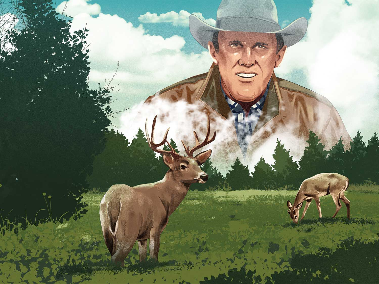 Illustration of a man overlooking a field of deer.