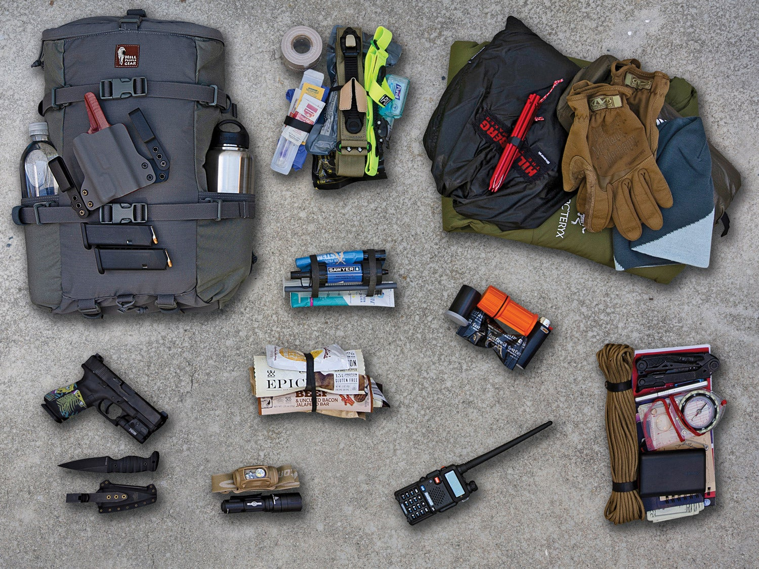 A collage of supplies and gear arranged on a concrete background.