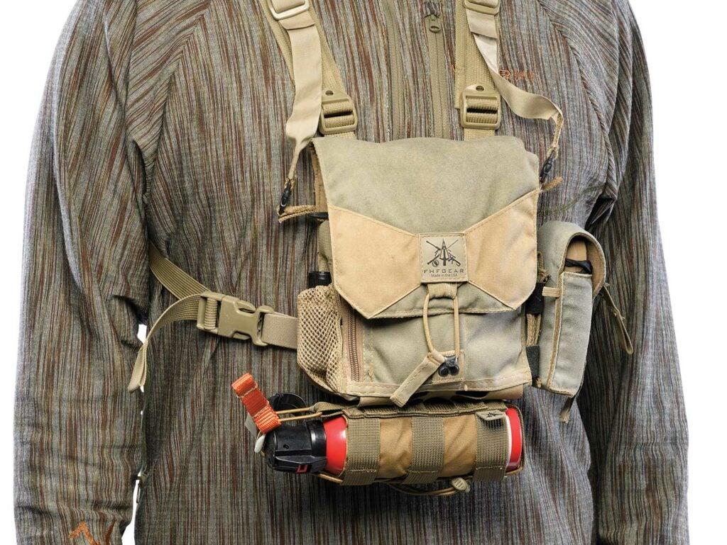 FHF Gear Bino Harness Pro-M on a hunting gear model.