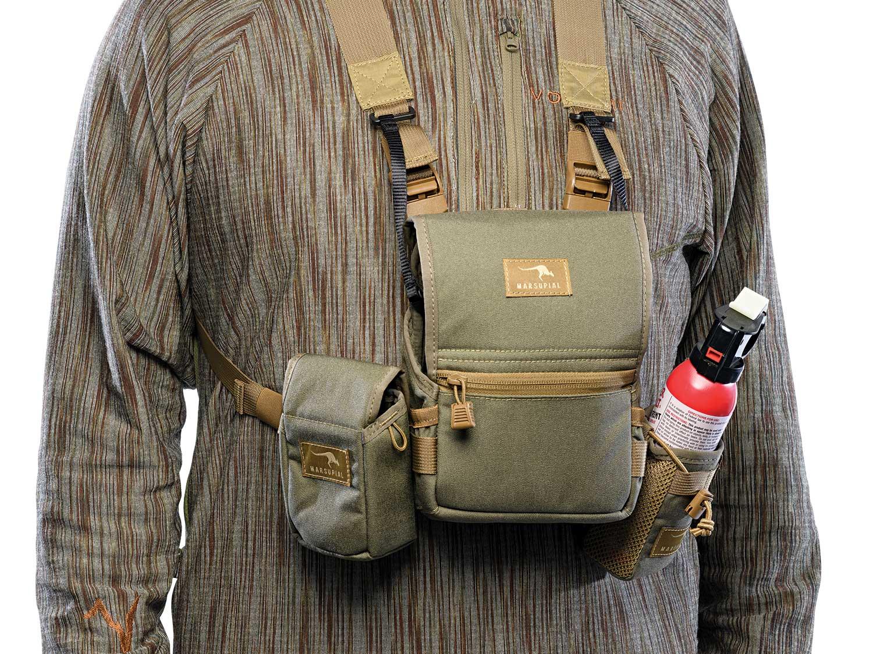 Marsupial Gear Bino Pack on a hunting gear model.