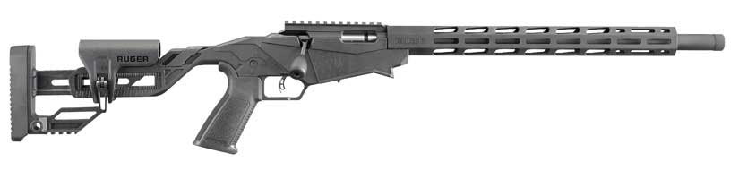 A custom rimfire rifle on a white background.