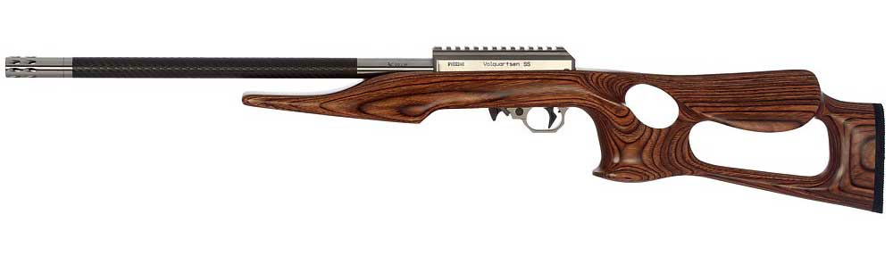 A wooden Volquartsen rifle on a white background.