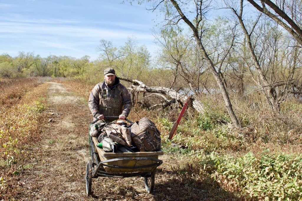 A cart is invaluable for walk-in duck hunting