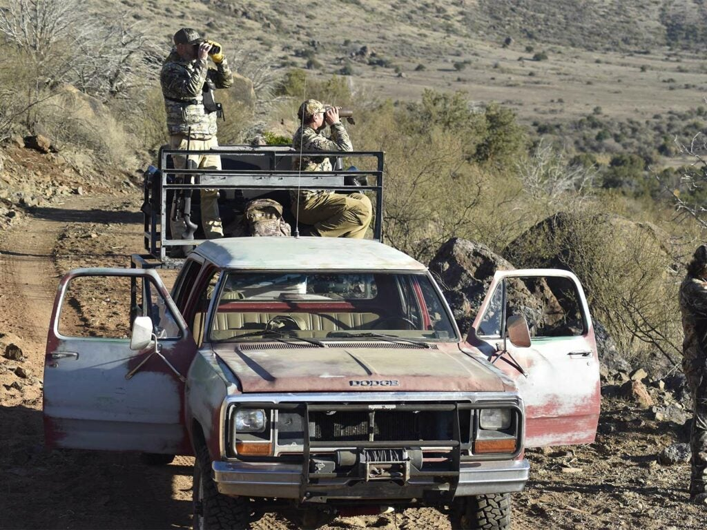 A group of hunters scout from the bed of a truck using binoculars.