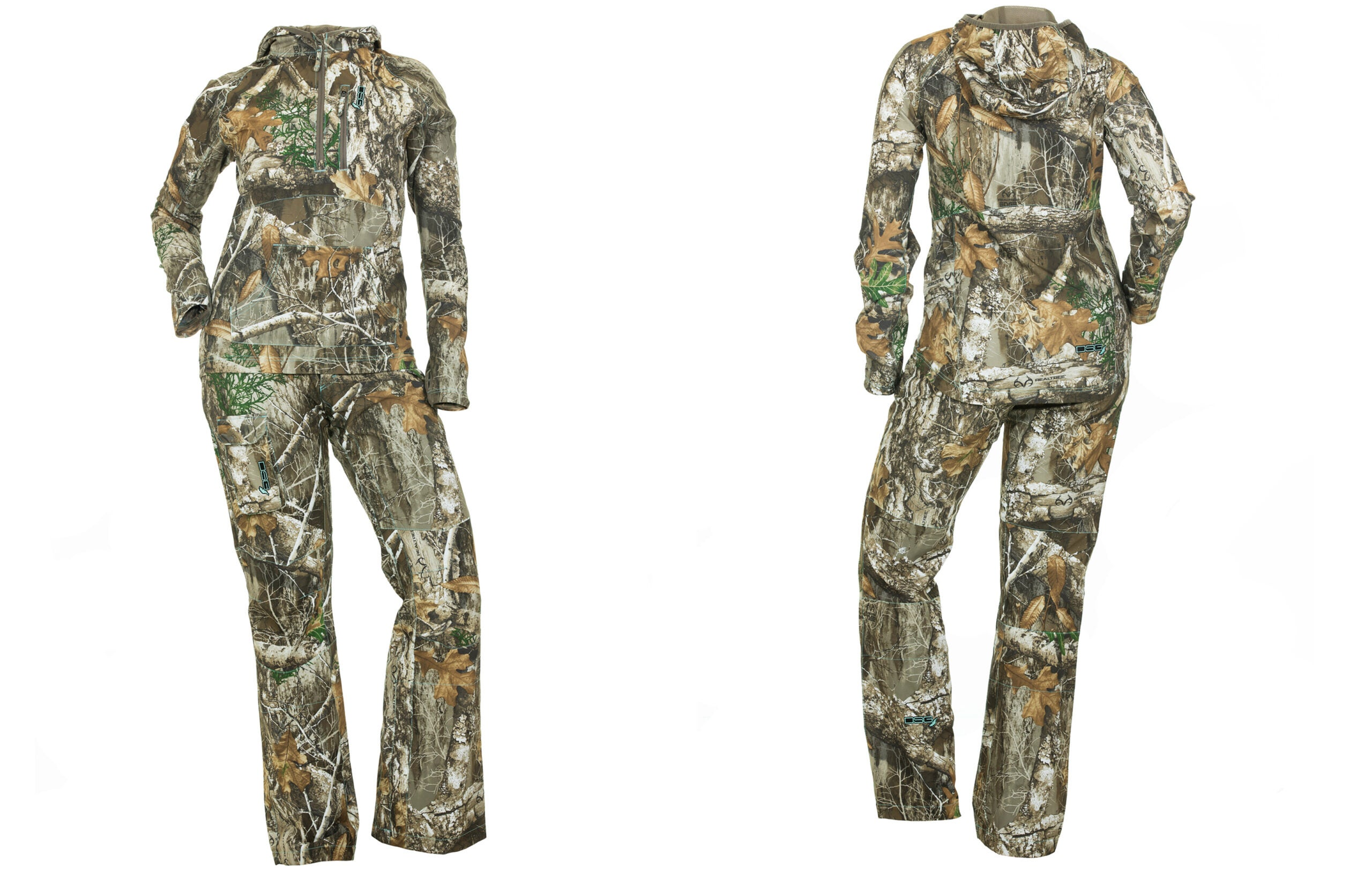 A top and bottom set of women's camo in Realtree Extra, on a white background.