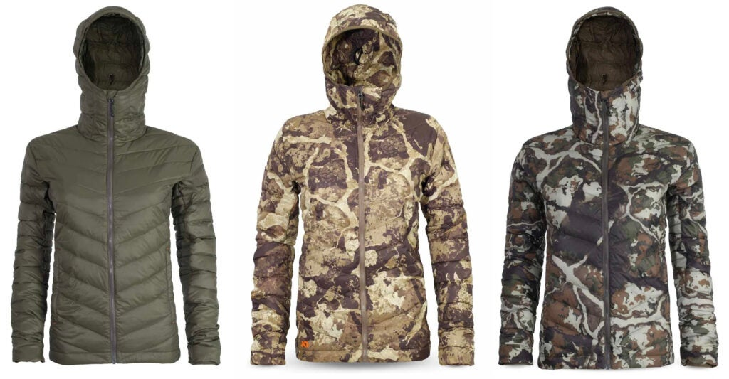 Three camo and green puffy jackets with hoods on a white background.