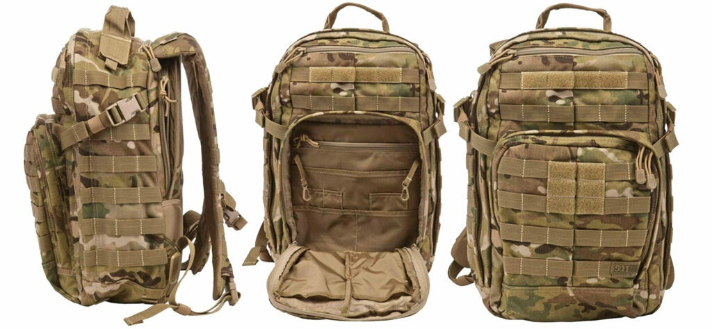 A camo and tan backpack with MOLLE webbing on a white background.