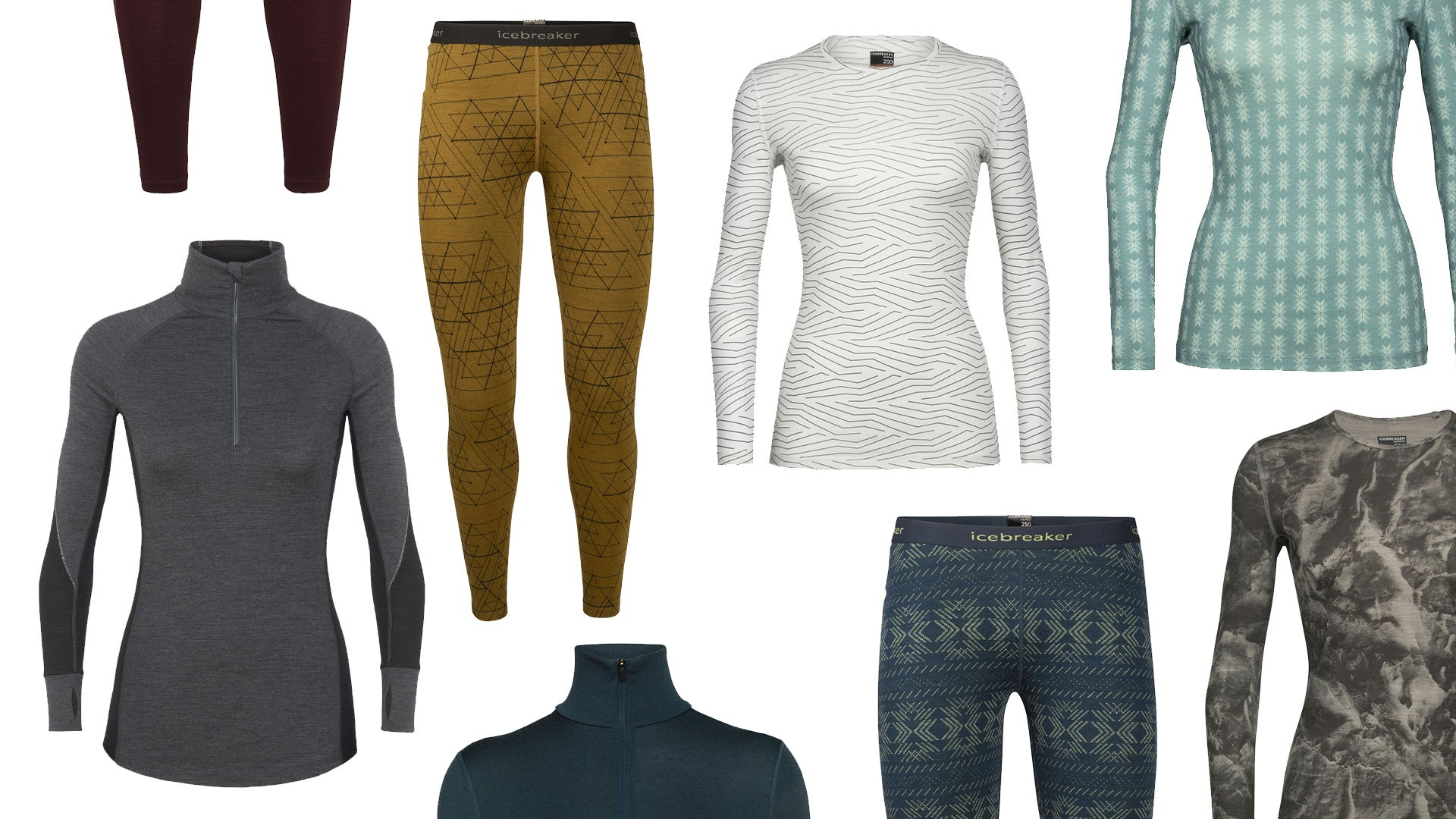 Assorted color and patterns of women's wool baselayers on a white background.