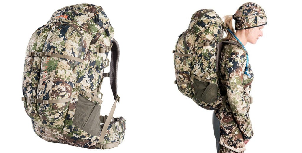A camo backpack on a white background besides a woman with the same backpack on it.