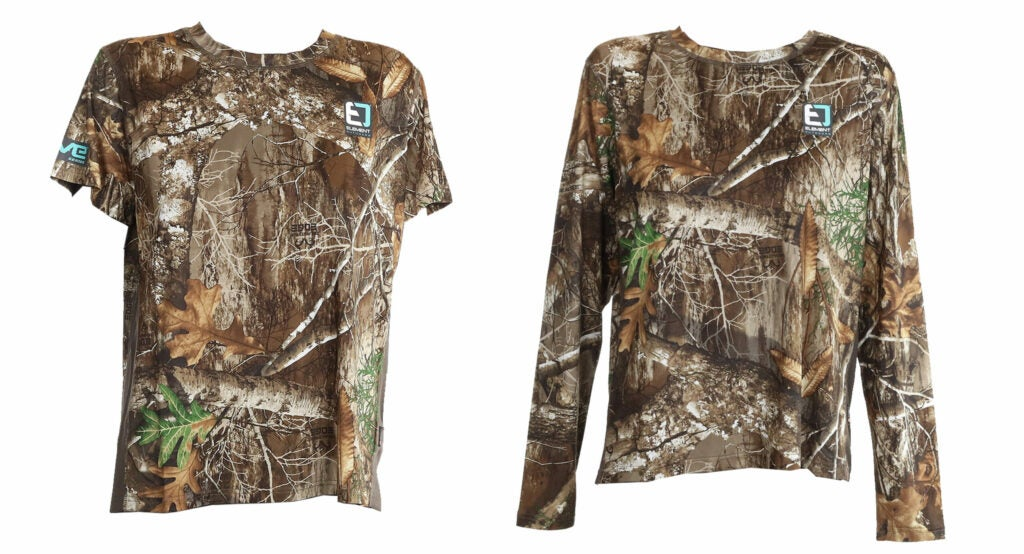 One hort and one longsleeved camo hunting shirt on a white background.