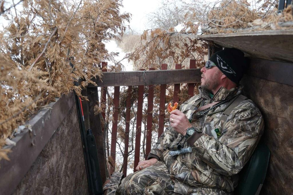 Lunchtime in one of Todd Gifford's homemade blinds.