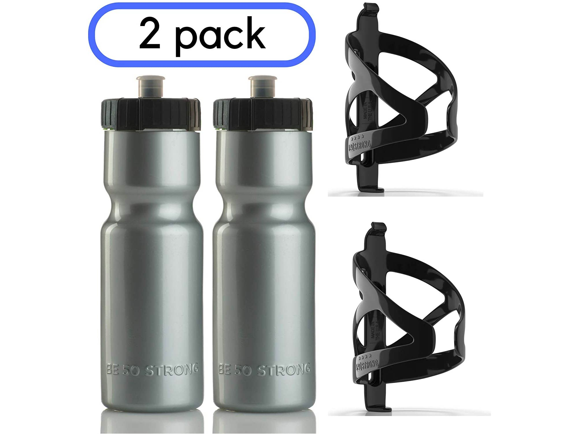50 Strong Bike Bottle Holder with Water Bottle - 2 Pack - 22 oz. BPA Free Bicycle Squeeze Bottle and Durable Plastic Holder Cage- Made in USA