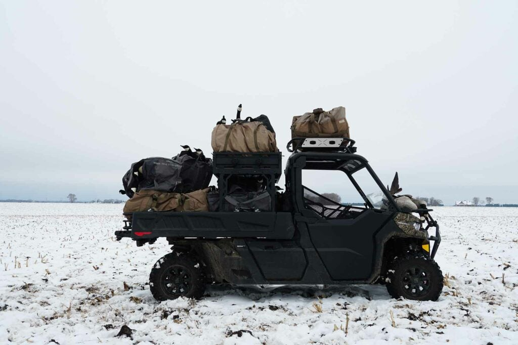 The Can Am Defender fully loaded after a cold hunt in Minnesota.