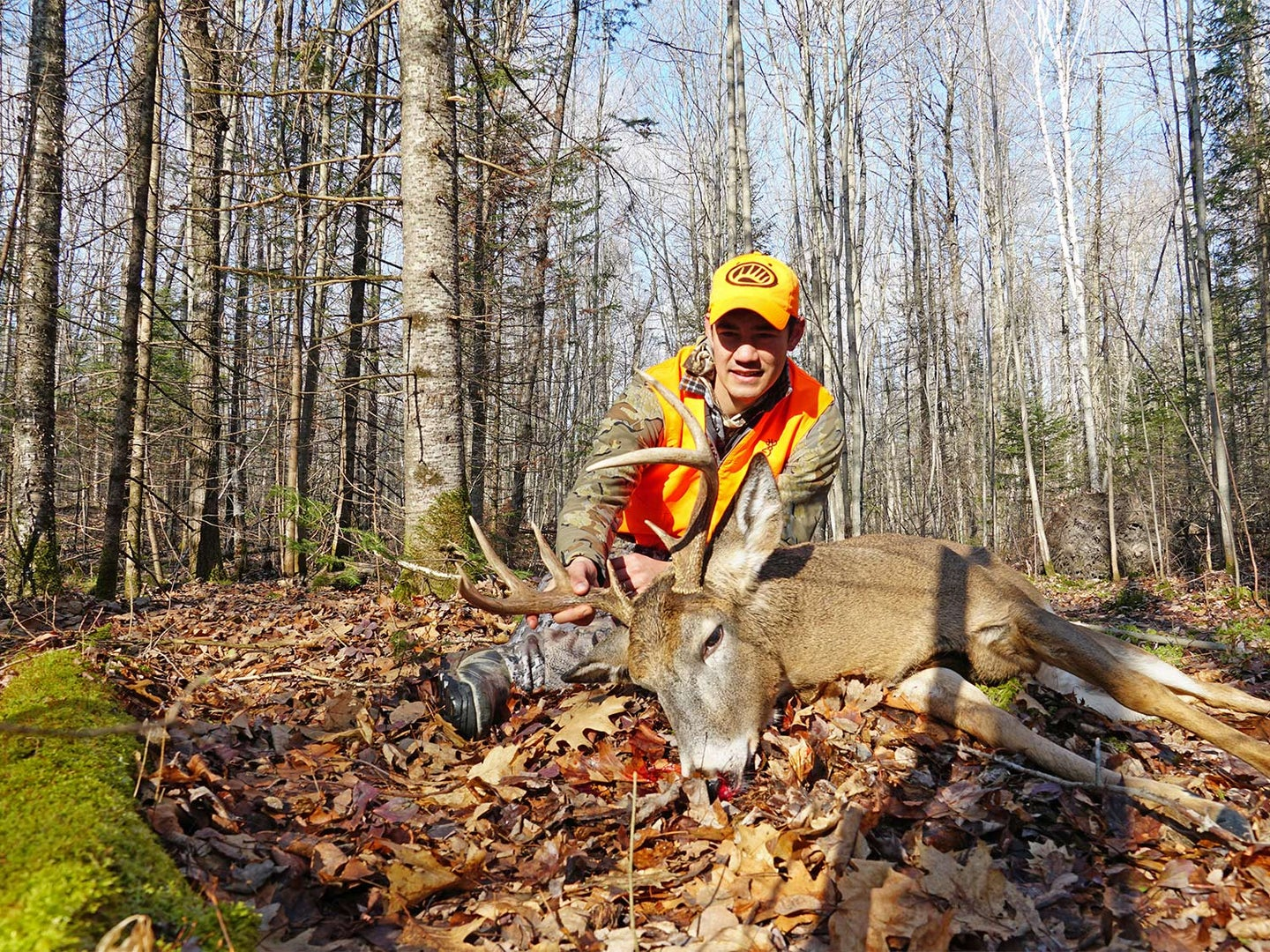 A hunter kneels behind a dropped whitetail deer.