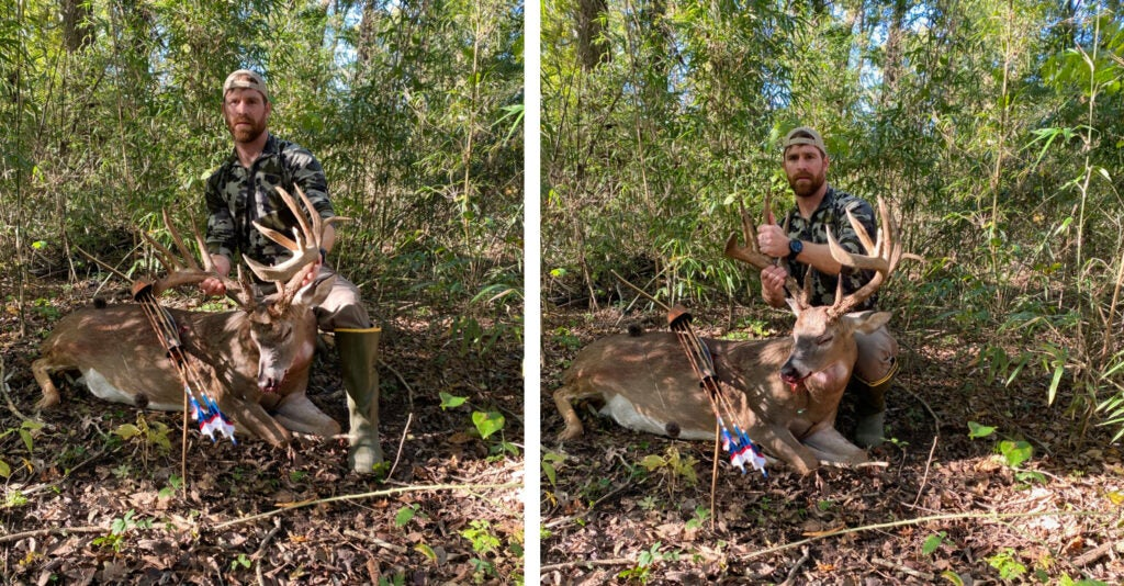 A hunter beside a big whitetail buck in the woods.