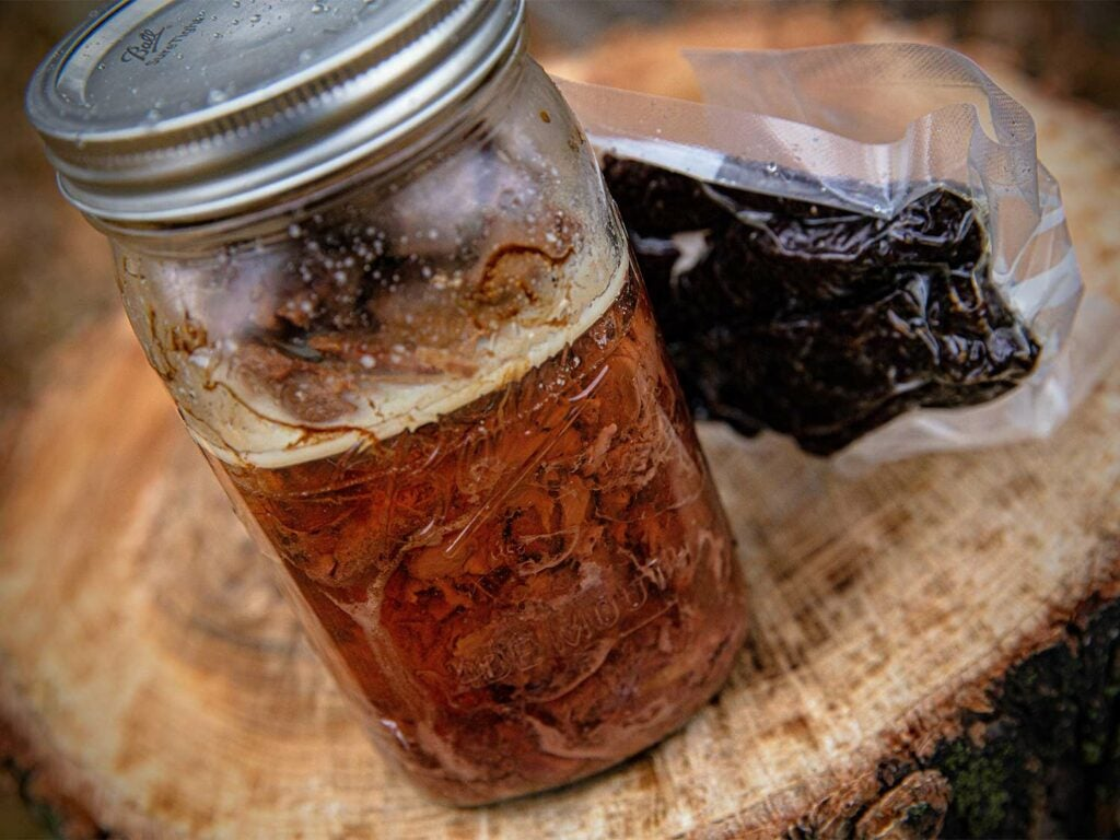 A sealed mason jar of canned meat.