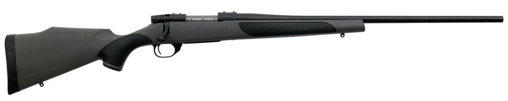 A Weatherby Vanguard Rifle on a white background.