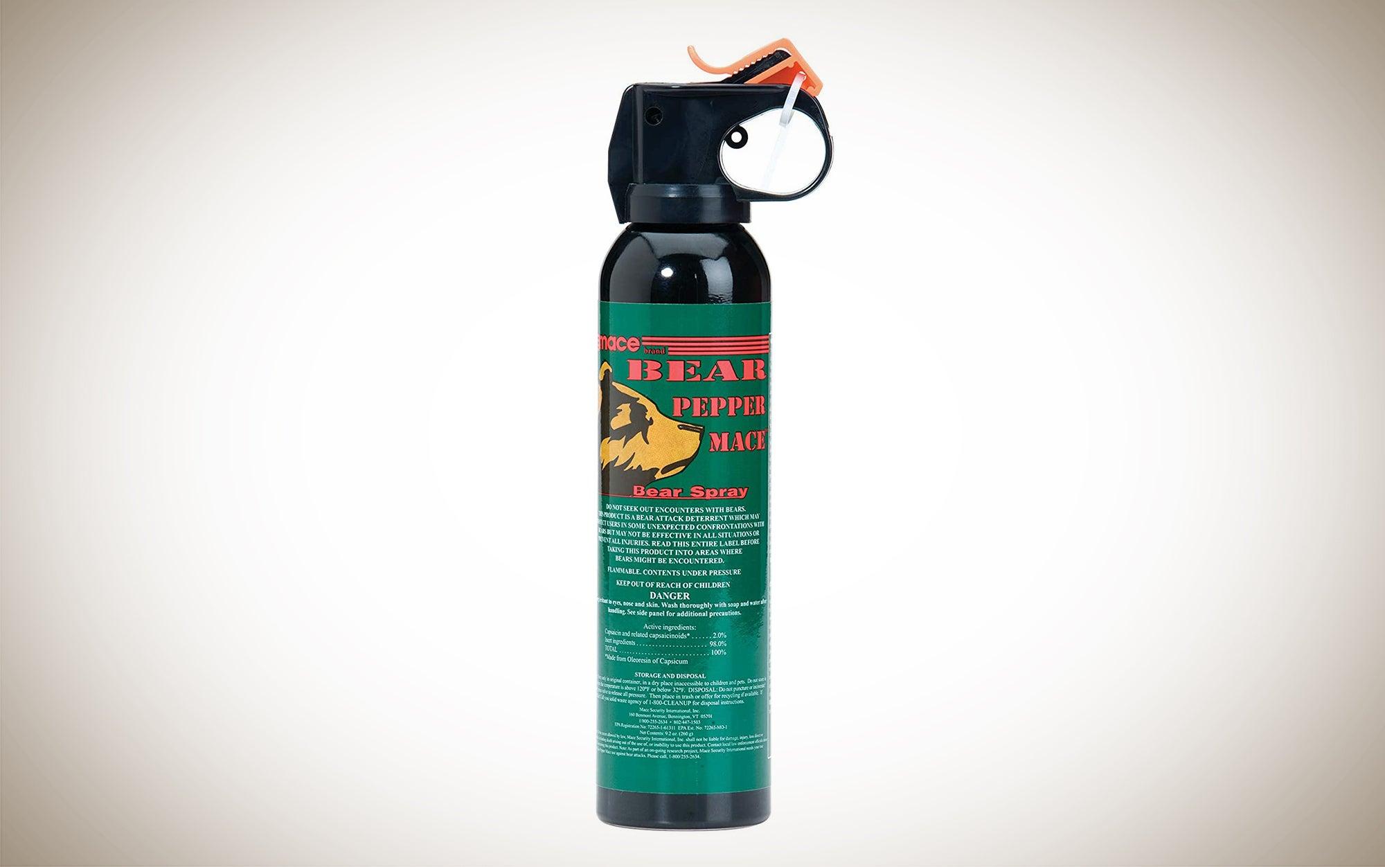 Mace Bear Spray is a bear pepper spray that sprays up to 35 feet away.