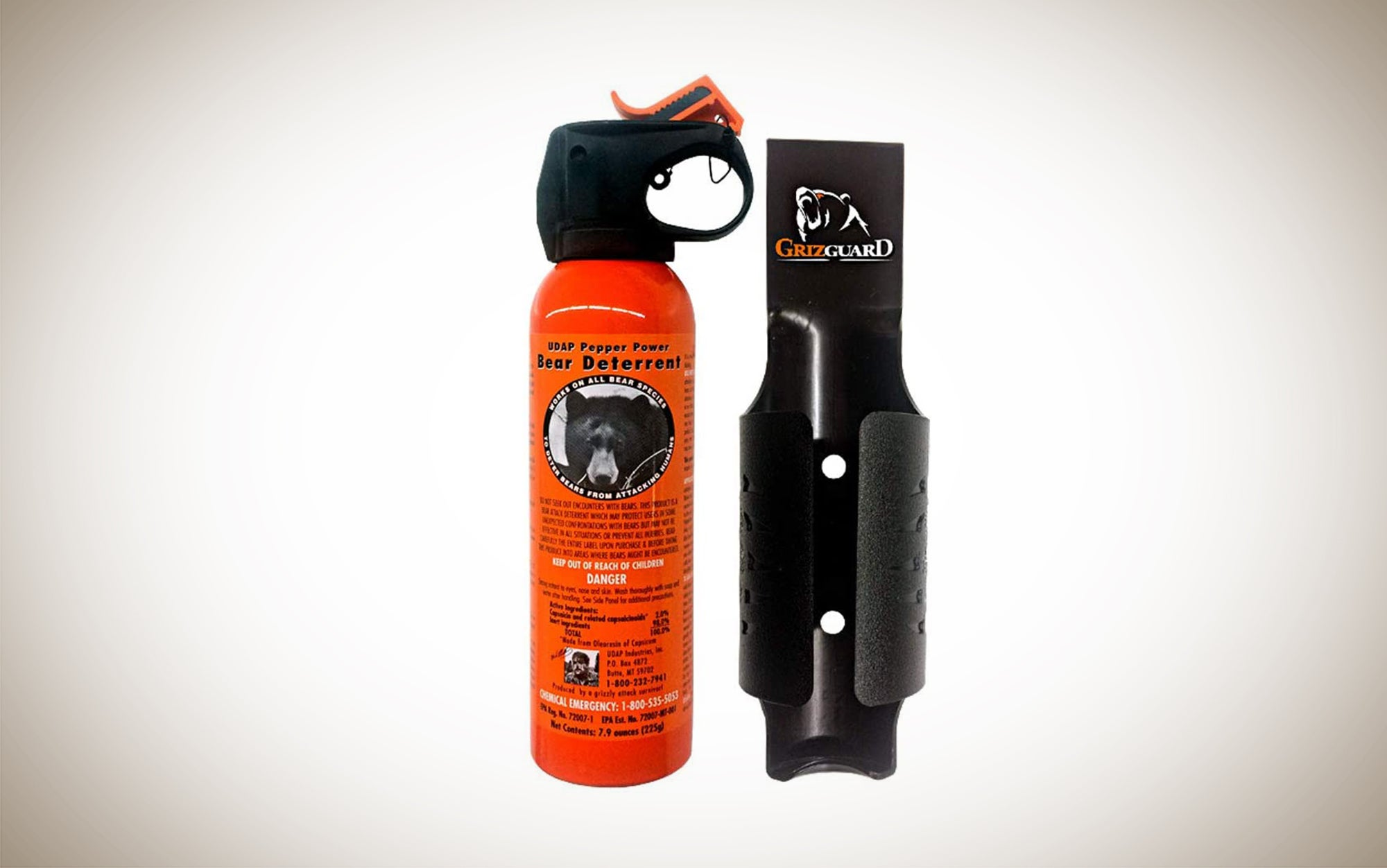Udap Bear Spray is easy to carry with you on your belt.