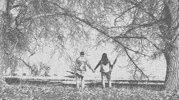a black and white sketched image of a man and woman hunter holding hands