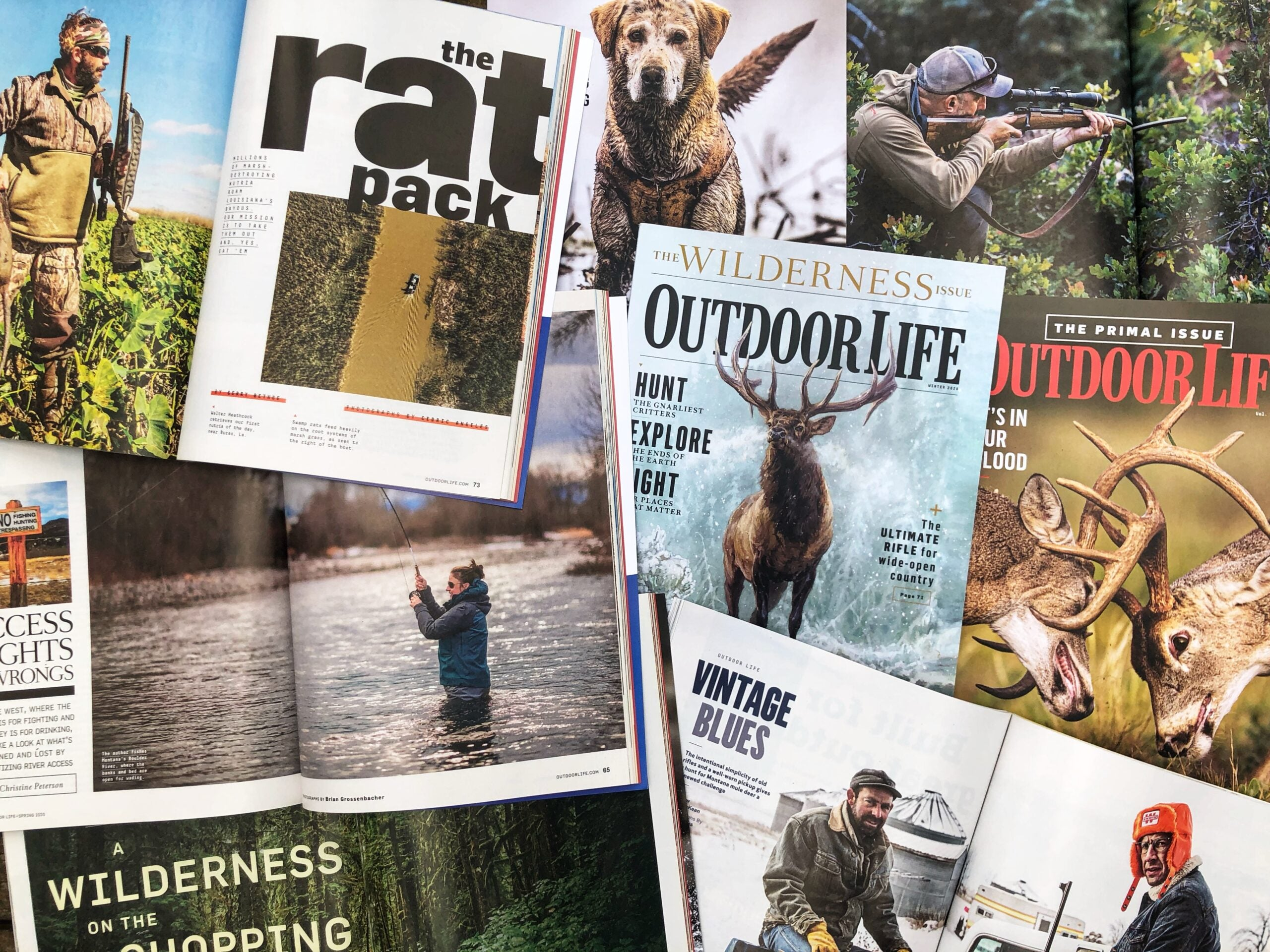 An assortment of Outdoor Life magazine covers and story pages about deer hunting, fishing, and more from 2020.