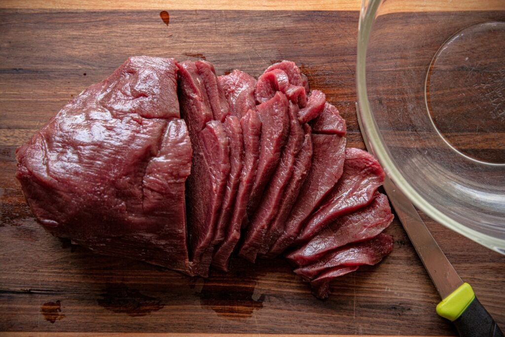 Some of the best cuts for making jerky come from the hind quarters.
